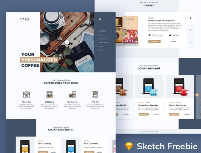 Coffee Shop Landing Page Template For Sketch