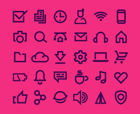 30 UI Line Icons PSD