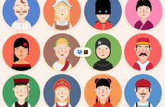 12 Flat Rounded Vector Avatars