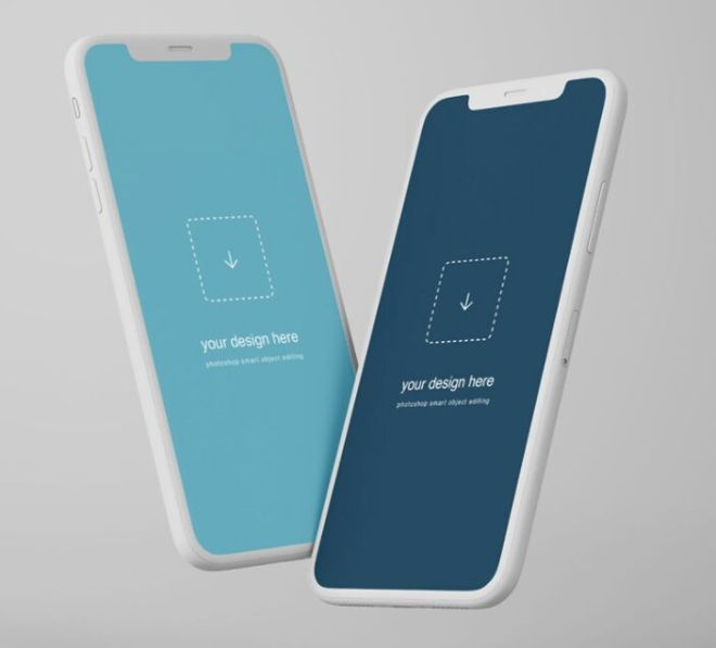 Floating iPhone X Clay Mockup