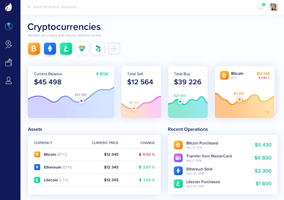 free cryptocurrency dashboard sketch template titanui. Black Bedroom Furniture Sets. Home Design Ideas