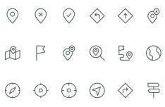 18 Slim Map Location Icons Vector