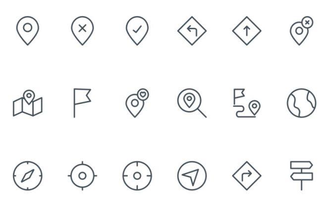 18 Slim Map Location Icons Vector