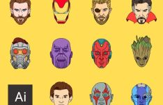 Avengers Infinity War Superhero Avatars Vector