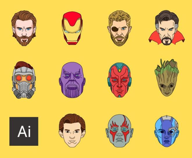 Avengers Infinity War Superhero Avatars Vector