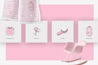 Baby Girl & Boy Icons & Patterns Vector-min