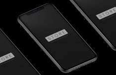Isolated iPhone X Black PSD Mockup-min