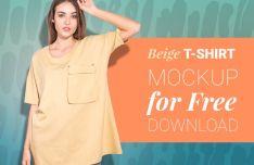 Customizable Woman T-Shirt Mockup PSD-min