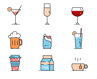 9 Drinks Vector Icons-min