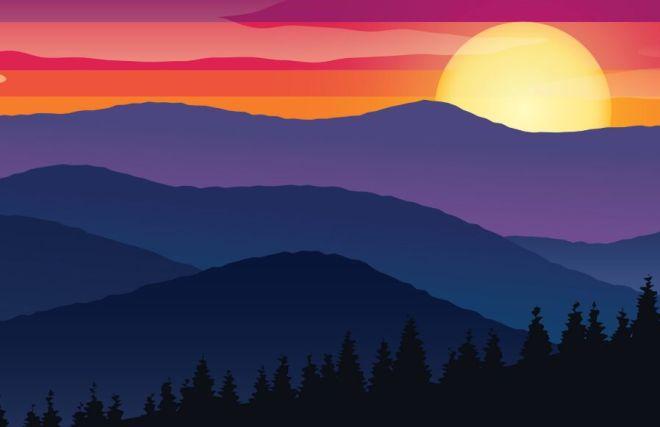 Valley Sunset Scenery Vector Illustration-min