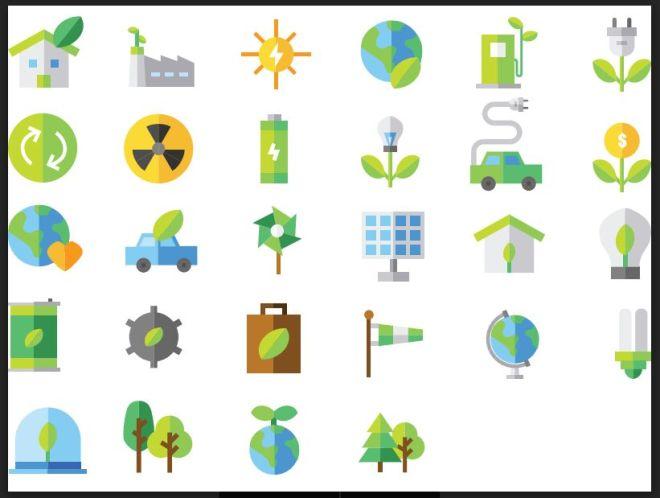 28 Flat Renewable Energy Icons Vector-min