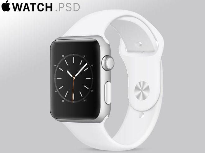 Floating White Apple Watch PSD Mockup-min