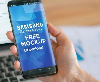 Samsung Galaxy Note 8 In Hand PSD Mockup