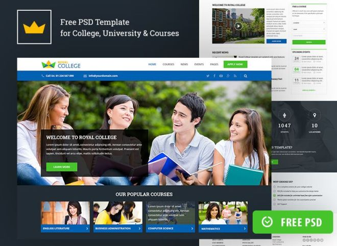 Royal Education Web Templates PSD-min