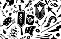 Handdrawn RPG Elements Background Vector-min