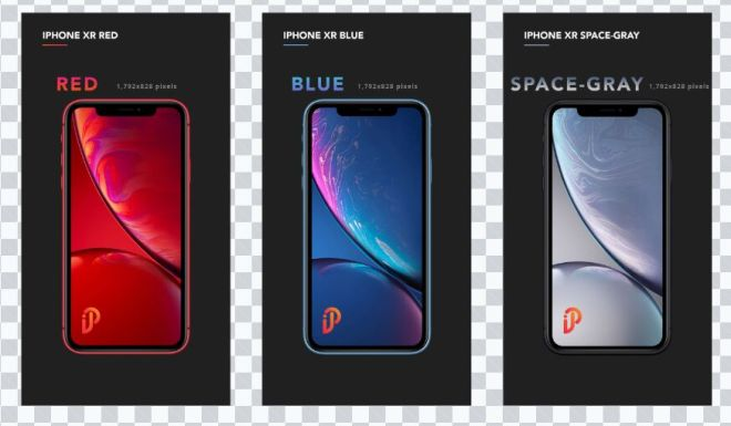 iPhone XR (Red, Blue, Spacegrey) PSD Mockup-min