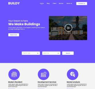 Real Estate Single Page Web Template PSD