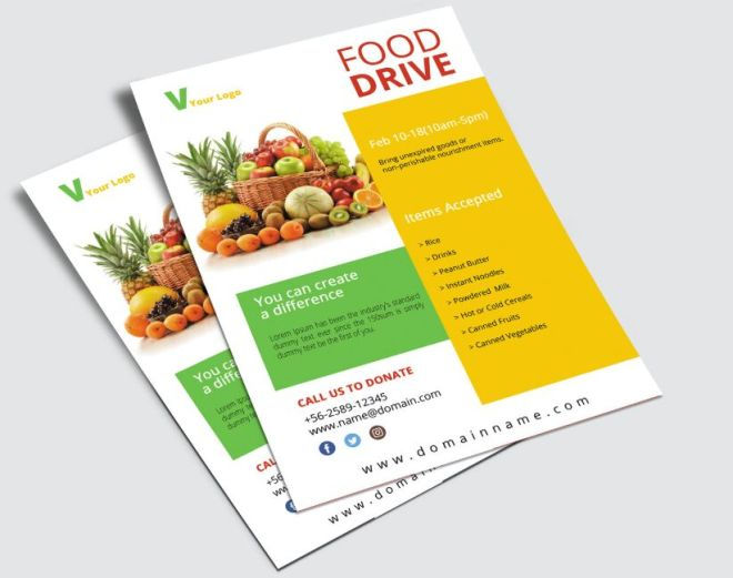 Food Drive Flyer PSD Mockup