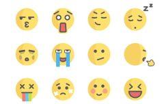 12 Cute Flat Emojis Sketch