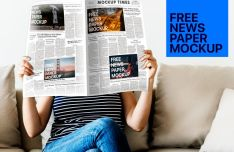 Girl Reading Newspapers PSD Mockup