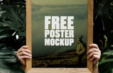 Woman Holding Poster In Forest PSD Mockup
