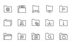 25 Slim Folder Icons Vector
