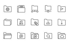 25 Slim Folder Icons Vector