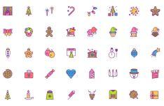 50 Colorful Sweet Christmas Icons (AI+PNG+SVG)