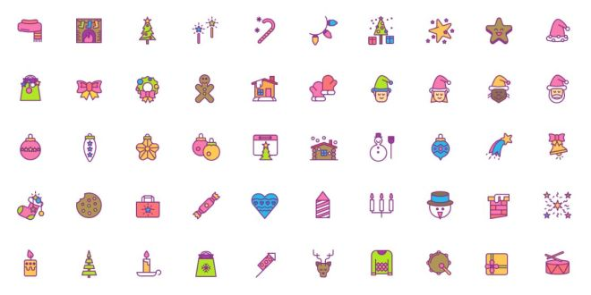 50 Colorful Sweet Christmas Icons (AI+PNG+SVG)