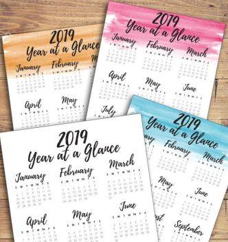 Printable A4 2019 Calendar Vector