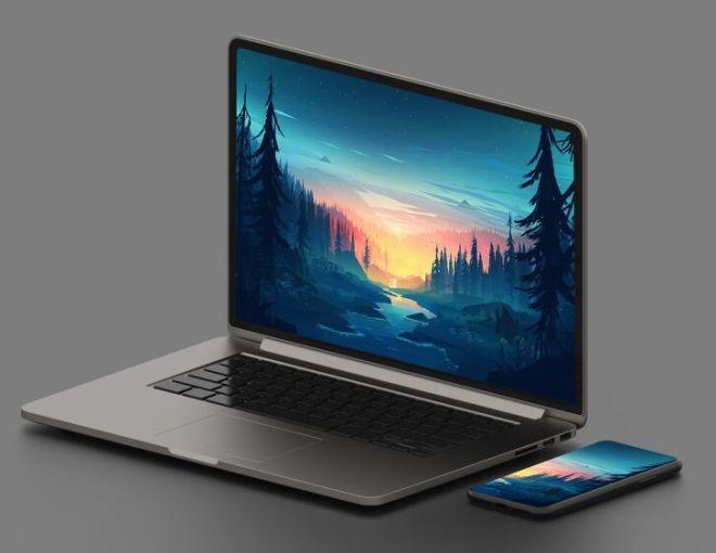 HD Macbook & iPhone Mockup