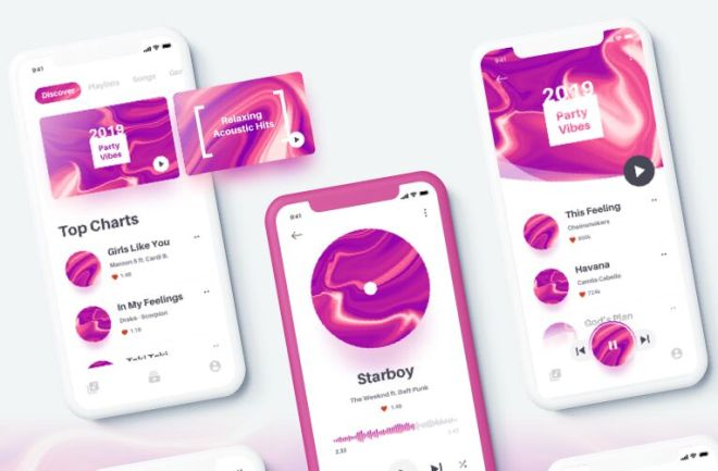 Elegant Music App UI Kit For Sketch