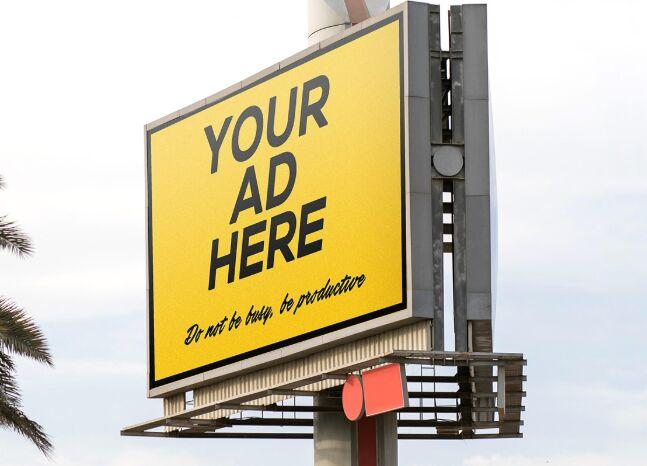 Realistic Professional Outdoor Billboard Mockup PSD