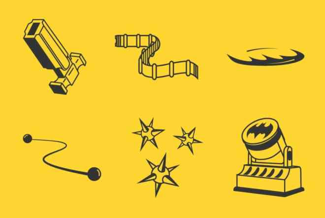 6 Batman Gadgets Vector