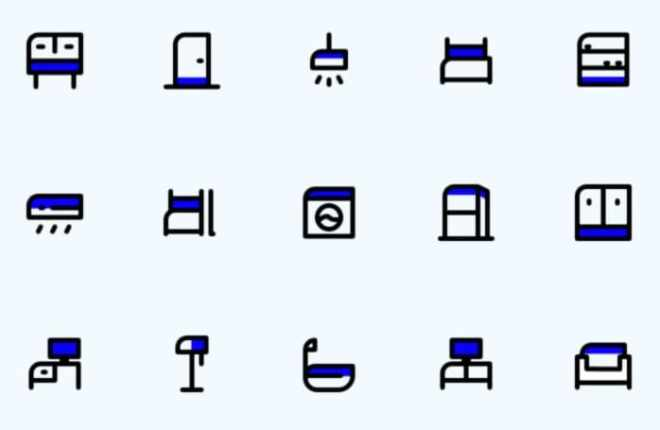 15 Minimal Furniture Icons For Sketch