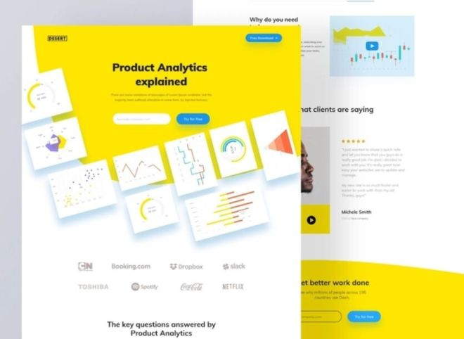 Yellow Analytics Landing Page Adobe XD Template