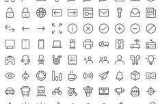 100 Thin Line UI Icons (Vector)