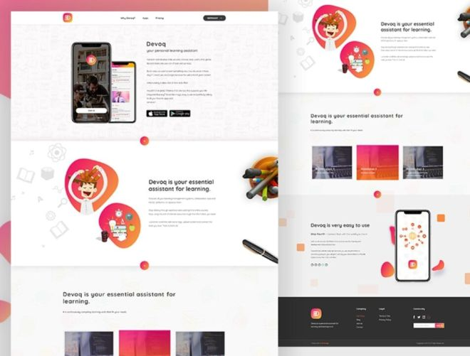 Mobile App Landing Page For Education PSD