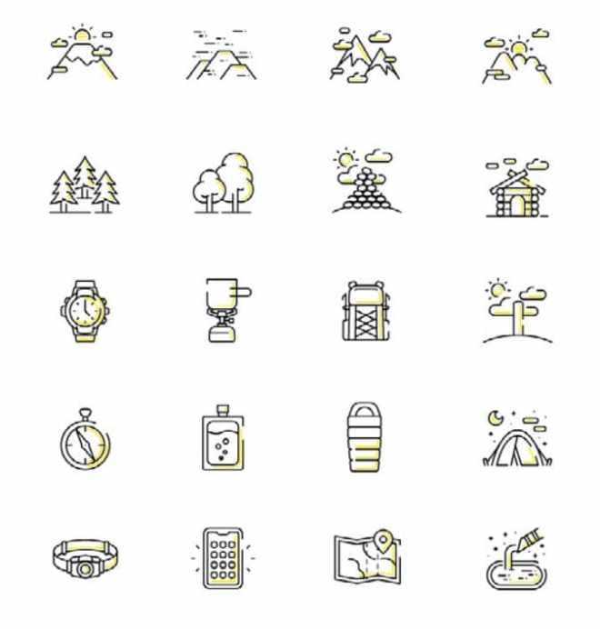 20+ Hiking Vector Icons Pack