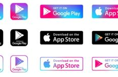 App Store & Google Play App Download Buttons Vector