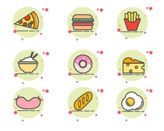 9 Food Icons For Adobe Illustrator