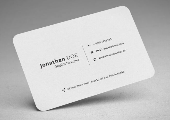 Professional Rounded Business Card PSD Mockup