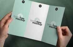 Holding Tri-fold Brochure PSD Mockup