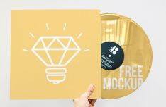 Realistic Hand Holding Vinyl Mockup