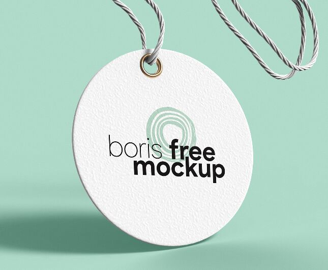Circular Paper Label Tag PSD Mockup