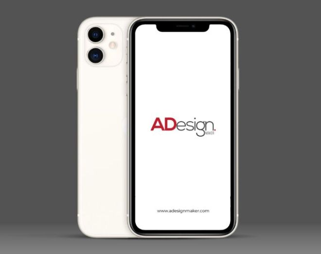 Standing iPhone 11 PSD Mockup