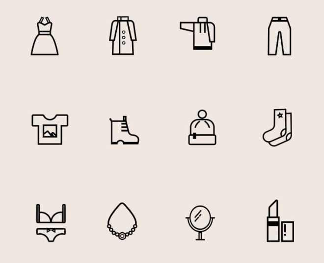 12 Beauty And Сlothing Vector Icons