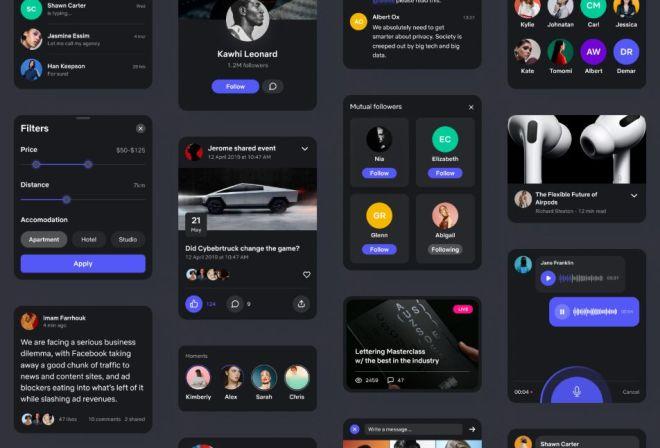 Dark Social UI Kit For Figma App