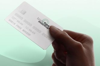 Realistic Hand Holding Credit Card PSD Mockup