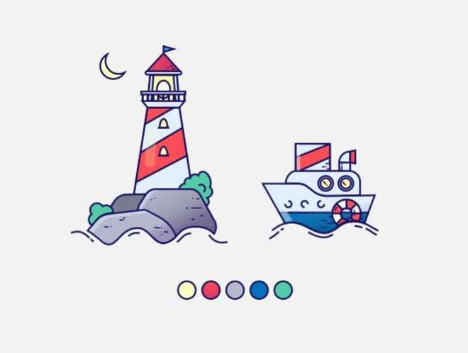 Colorful Marine Vector Icons